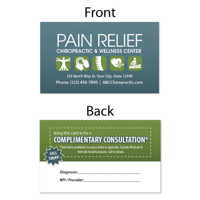 1223. Business Card - Pain Relief | JustUs Chiropractic Marketing
