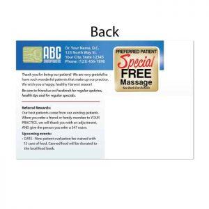 existing patient postcard, online print store, recall postcard, chiropractic postcard